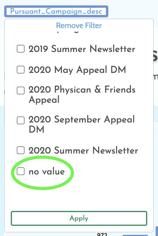 No Value Filter